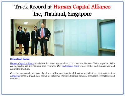 Track Record at Human Capital Alliance Inc, Thailand, Singapore