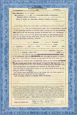 1924, Short Country Lease, Clarinda Dunham & Elmer D. Glenn of Tazewell County, IL.