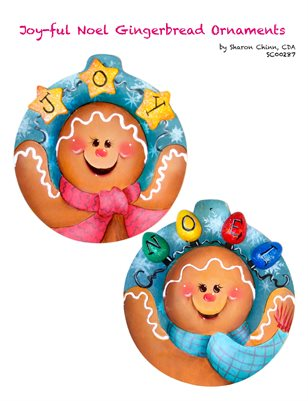 Joy-Ful Noel Gingerbread Ornaments Painting Pattern Tutorial by Sharon Chinn SC00287