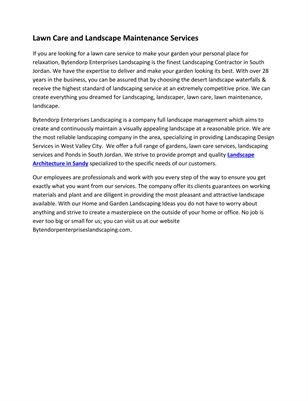 Lawn Care and Landscape Maintenance Services