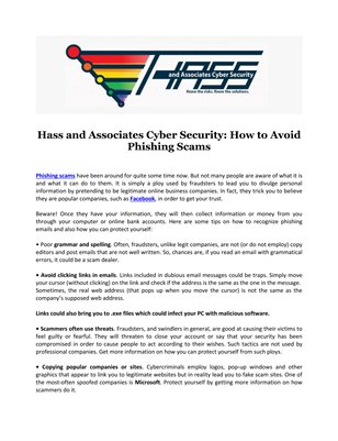 Hass and Associates Cyber Security: How to Avoid Phishing Scams