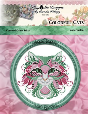 Colorful Cats Watermelon Counted Cross Stitch Pattern