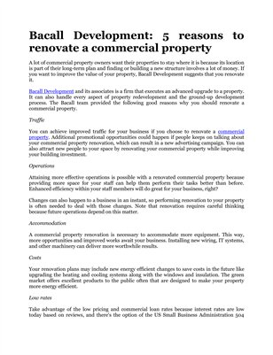 Bacall Development: 5 reasons to renovate a commercial property