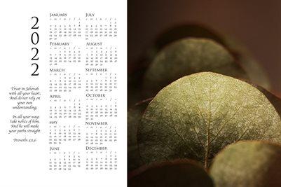 2022 Calendar - Proverbs 3:5,6 - Eucalyptus II Color