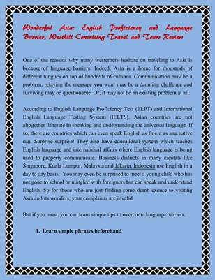 Wonderful Asia: English Proficiency and Language Barrier Westhill Consulting Travel and Tours Review