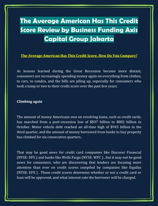 The Average American Has This Credit Score Review by Business Funding Axis Capital Group Jakarta
