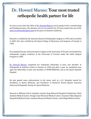 Dr. Howard Marans: Your most trusted orthopedic health partner for life