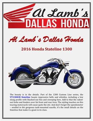 Al Lamb's Dallas Honda: 2016 Honda Stateline 1300