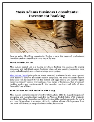 Moss Adams Business Consultants: Investment Banking