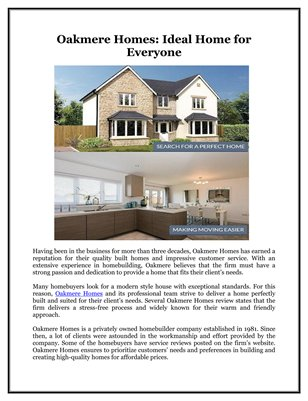 Oakmere Homes: Ideal Home for Everyone