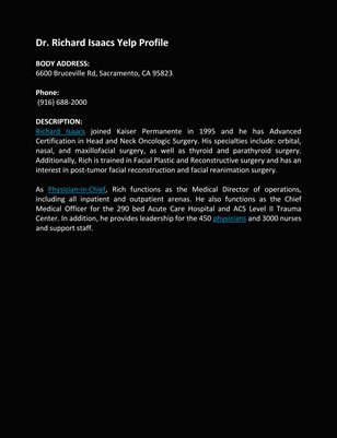 Dr. Richard Isaacs Yelp Profile