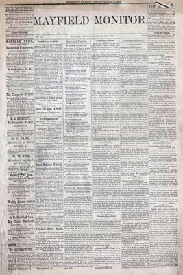 (PAGES 1-2) MAY 1, 1880 MAYFIELD MONITOR NEWSPAPER