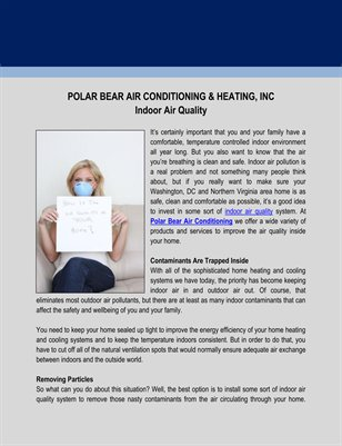 Polar Bear Air Conditioning & Heating, Inc on Indoor Air Quality
