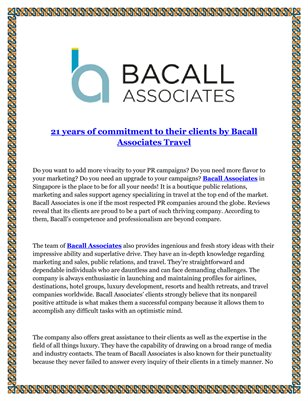 21 years of commitment to their clients by Bacall Associates Travel