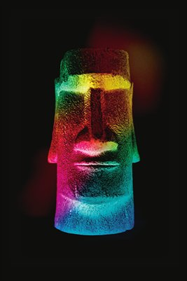 Rainbow Easter Island Head Print