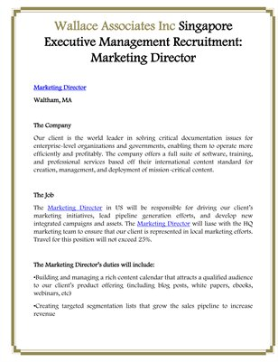 Wallace Associates Inc Singapore Executive Management Recruitment: Marketing Director