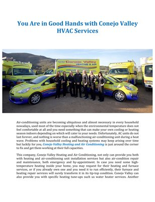 You Are in Good Hands with Conejo Valley HVAC Services
