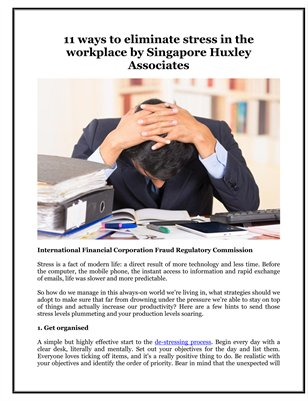 11 ways to eliminate stress in the workplace by Singapore Huxley Associates