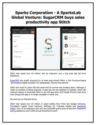 Sparks Corporation - A SparksLab Global Venture: SugarCRM buys sales productivity app Stitch