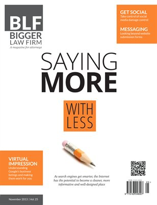 Saying More with Less - November 2013