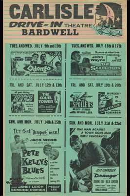 1956 MOVIE POSTER, CARLISLE DRIVE-IN THEATRE, BARDWELL