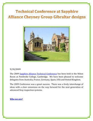 Technical Conference at Sapphire Alliance Cheyney Group Gibraltar designs