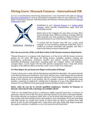 Hiring Guru: Mossack Fonseca - International HR