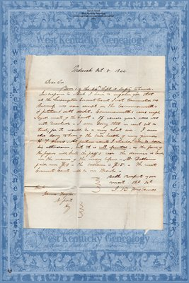 1844 Letter to J.B. Husbands of Paducah, KY from James Taylor of Newport, KY