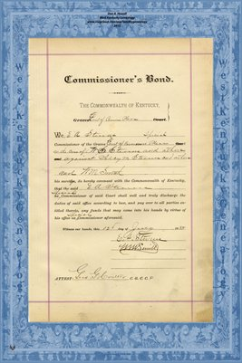 1888 Commissioner's Bond, E.A. Stevens, Graves County, Kentucky