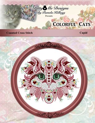 Colorful Cats Cupid Counted Cross Stitch Pattern