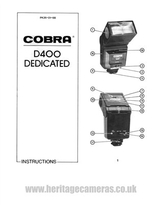 Instructions for Cobra D400 TTL Flash Unit