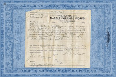 Clifton Marble & Granite Works / Nancy Robnett wife of John 1809-1889