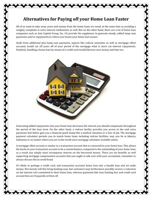 Alternatives for Paying off your Home Loan Faster