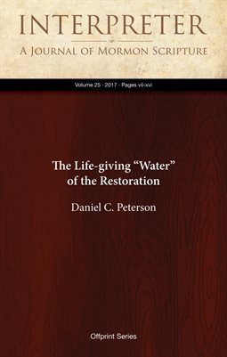 "The Life-giving ""Water"" of the Restoration"