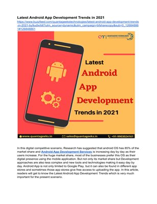 Latest Android App Development Trends in 2021
