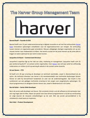 The Harver Group Management Team