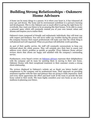 Building Strong Relationships - Oakmere Home Advisors