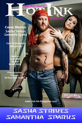 HOT INK MAGAZINE COVER POSTER - Cover Models Sasha Strikes & Samantha Sparks - April 2018