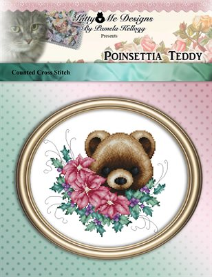 Poinsettia Teddy Cross Stitch Pattern