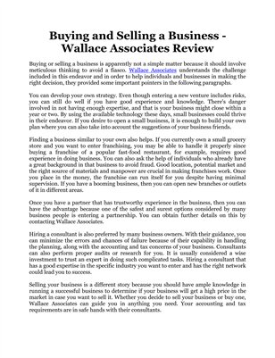 Buying and Selling a Business - Wallace Associates Review