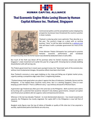 Thai Economic Engine Risks Losing Steam by Human Capital Alliance Inc. Thailand, Singapore