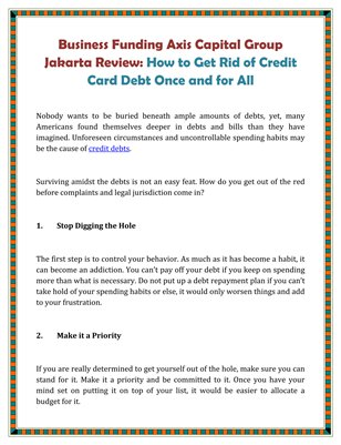 Business Funding Axis Capital Group Jakarta Review: How to Get Rid of Credit Card Debt Once and for All