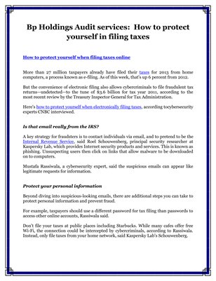 Bp Holdings Audit Services: How to protect yourself in filing taxes
