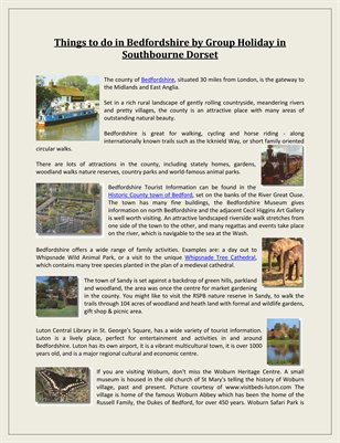 Things to do in Bedfordshire by Group Holiday in Southbourne Dorset