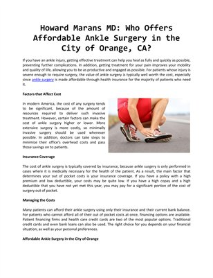 Howard Marans MD: Who Offers Affordable Ankle Surgery in the City of Orange, CA?