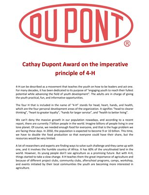 Cathay Dupont Award on the imperative principle of 4-H