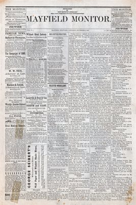 (PAGES 1-2) NOV. 6TH, 1880 MAYFIELD MONITOR NEWSPAPER, MAYFIELD, GRAVES COUNTY, KENTUCKY