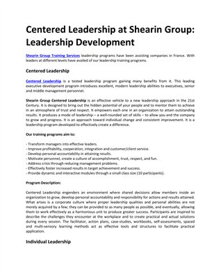 Centered Leadership at Shearin Group: Leadership Development