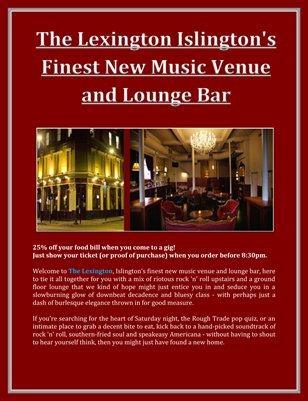 The Lexington Islington's Finest New Music Venue and Lounge Bar