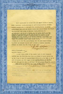 1917 Deed, Holmes to Holmes, Marshall County, Kentucky